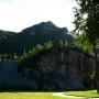 清晨桃峰园后山喷泉