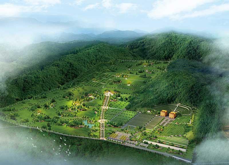 灵山宝塔陵园全景格局